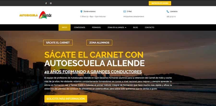 web autoescuela Allende gijón